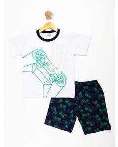 Pijama Juvenil com Estampa Brilha no Escuro - Azul